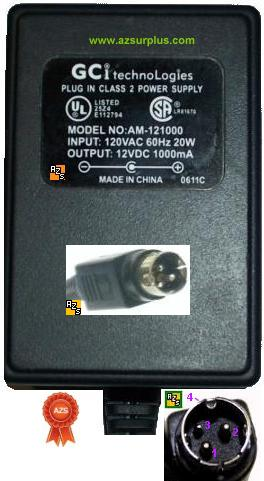 GCI AM-121000 3Pin AC ADAPTER 12VDC 1A 3Pin Amigo 1000mA 20W Plu
