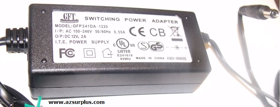 GFT GFP241DA-1220 AC ADAPTER 12V DC 2A Used 2x5.5mm -(+)-