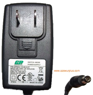 GPC 3A-161WP09 AC ADAPTER 9VDC 1.7A -(+) 2x5.5mm Used ROUND BARR