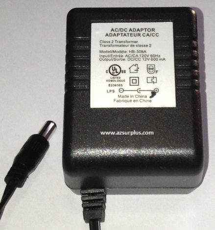 HB-308A AC ADAPTER 12VDC 600mA USED 2x5.5x13mm Round Barrel -(+)