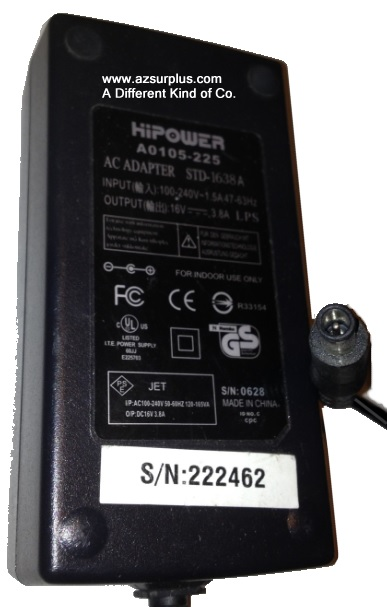 HIPOWER A0105-225 AC ADAPTER 16VDC 3.8A Used -(+)- 1 x 4.5 x 6 x