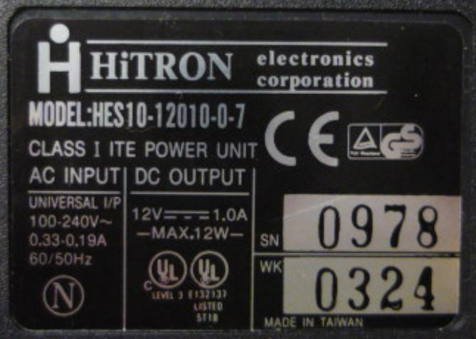 HITRON HES10-12010-0-7 AC ADAPTER 12VDC 1A 12W Switching POWER