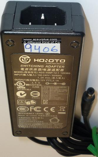HOIOTO ADS-45NP-12-1 12036G AC ADAPTER 12VDC 3A USED -(+) 2x5.5x