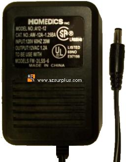 HOMEDICS A12-12 ADAPTER 12V AC 1.2A POWER SUPPLY FM-2 LSS-6 AW-