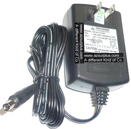 HON-KWANG HK-A112-A06 AC ADAPTER 6VDC 0-2.4A USED -(+) 2.5x5.5x8
