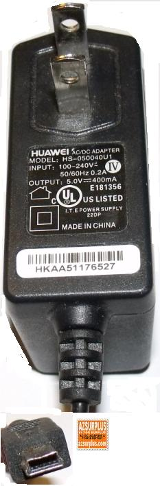 HUAWEI HS-050040U1 AC DC ADAPTER USB CELL PHONE CHARGER 5V 400mA