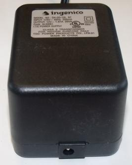 INGENICO DA-20-12L 57 AC ADAPTER 12Vdc 1.67A 20VA USED -(+)- MAL