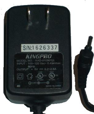 KINGPRO KAD-01050121 AC DC ADAPTER +5V 0.2A-2.5A POWER SUPPLY