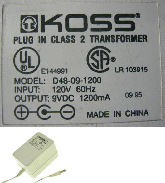 KOSS D48-09-1200 AC ADAPTER 9V DC 1200mA USED +(-)+ 2x5.4mm 120V