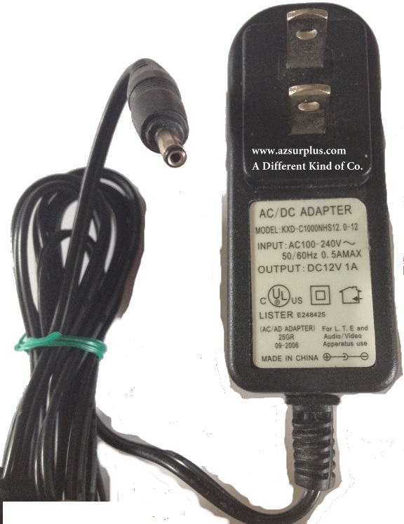 KXD-C1000NHS12.0-12 AC DC ADAPTER USED +(-) 12VDC 1A ROUND BARRE