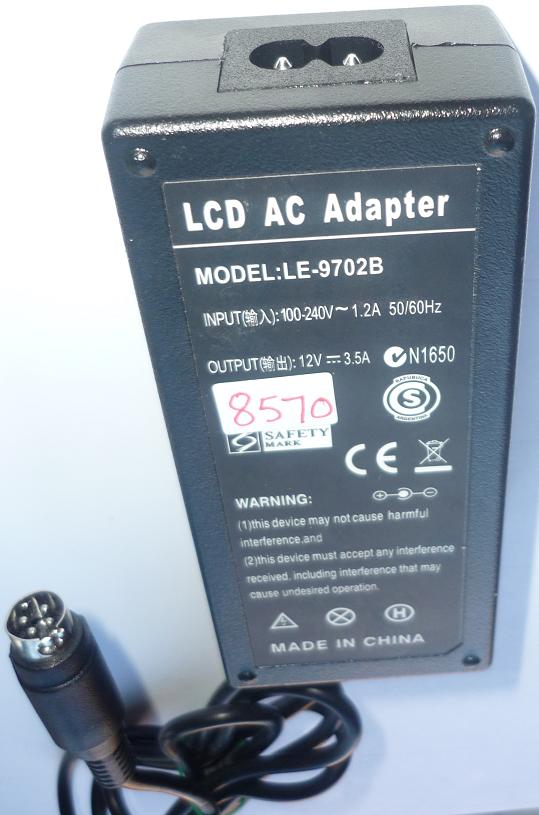 LE-9702B AC ADAPTER 12VDC 3.5A USED -(+) 4PIN DIN LCD POWER SUPP