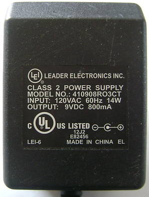 LEADER ELECTRONICS 410908RO3CT AC ADAPTER 9VDC 800mA -(+)- 2x5.5