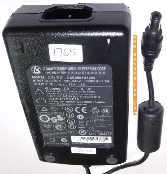 LI SHIN LSE9901B1260 AC ADAPTER 12VDC 5A POWER SUPPLY 2.5x5.5mm