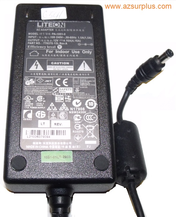 LITEON PA-1051-0 AC ADAPTER 12Vdc 4.16A Used -(+) 2x5.5mm 100-24
