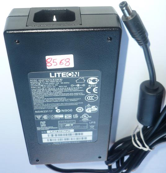 LITEON PA-1600-2A-LF AC ADAPTER 12VDC 5A USED -(+) 2.5x5.5x9.7mm