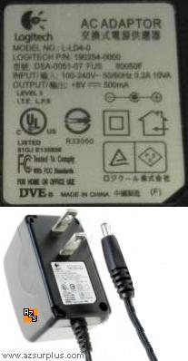 Logitech L-LD4-0 AC Adapter 8Vdc 0.5A Power Supply 190254-0000