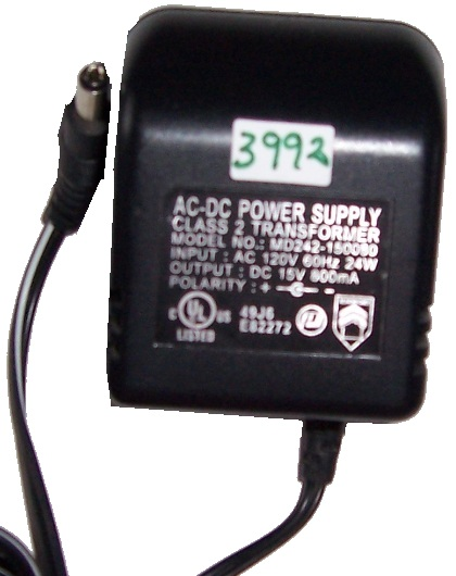 AC-DC Power Supply MD242-150080 15VDC 800mA Used +(-)+ 2.1x5.5mm