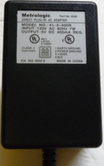 METROLOGIC 41-5-400R AC DC ADAPTER 5V 400mA DIRECT PLUG-IN POWER
