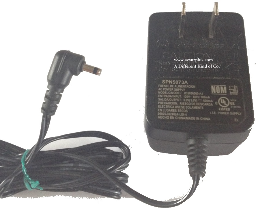MOTOROLA R35036060-A1 SPN5073A AC ADAPTER USED 3.6VDC 600mA