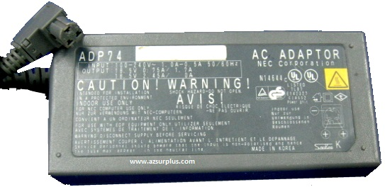 NEC ADP74 AC ADAPTER 18.5VDC 0.75A/1.7A 2.45A/0A USED 3PIN