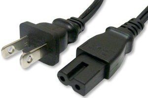 AC POWER CABLE CORD NEMA 1-15 to 2 PIN C7 Polarized CONNECTOR C - Click Image to Close
