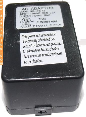 NFK-12 AC ADAPTER 12VAC 20VA 2Pin din female CLASS 2 POWER SUPPL