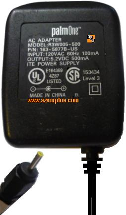 PALMONE R3W005-500 AC ADAPTER 5.2VDC 500mA ITE POWER SUPPLY FOR