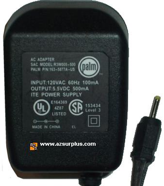 PALM R3W005-500 AC ADAPTER 5.5VDC 500mA POWER SUPPLY Zire 31 72