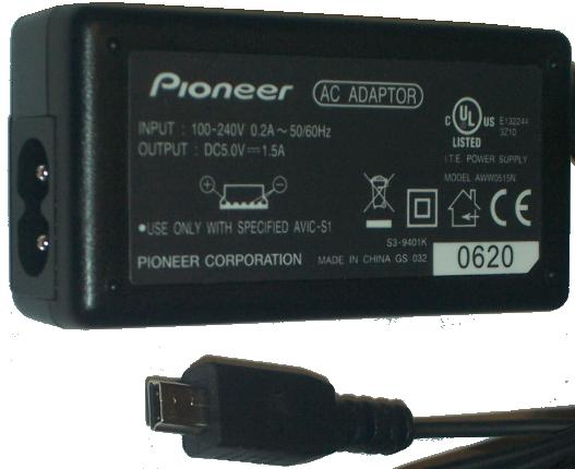 PIONEER AWW0515N AC DC ADAPTER 5V 1.5A I.T.E. POWER SUPPLY