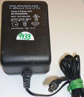 POSITEC MACHINERY SH-DC0240400 AC ADAPTER 24VDC 400mA USED -(