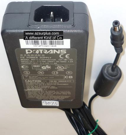 POTRANS UP04821120 AC ADAPTER 12VDC 4A USED -(+) 2.5x5.5x9.7mm