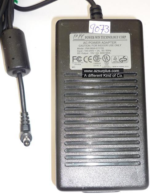 POWER-WIN PW-060A-01Y150 AC ADAPTER 15VDC 4A 60W USED 2.5x5.5mm
