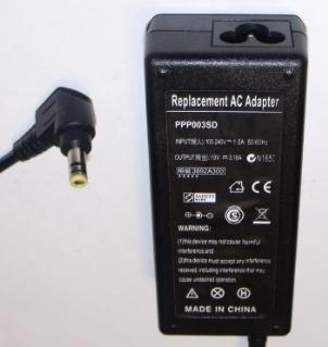 REPLACEMENT PPP003SD AC ADAPTER 19V 3.16A USED 2.5 x 5.5 x 12mm