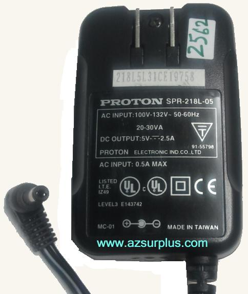 PROTON SPR-218L-05 AC ADAPTER 5VDC 2.5A Power Supply 2 .1x5.5