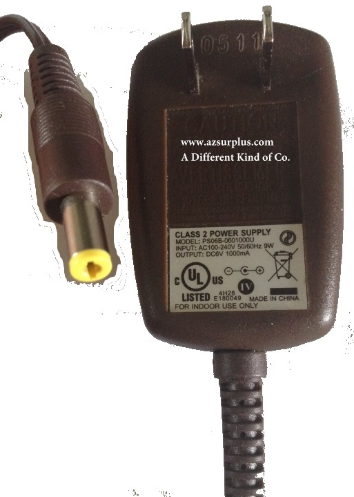 PS06B-0601000U AC ADAPTER USED -(+) 6VDC 1000mA 2x5.5mm ROUND BA