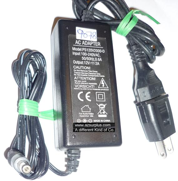 PS120V2000-D AC ADAPTER 12VDC 2A USED -(+) 2x5.5x11mm ROUND BARR