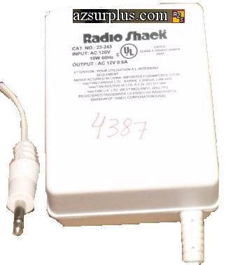 RADIO SHACK 23-243 AC DC ADAPTER 12V 0.6A SWITCHING POWER SUPPLY