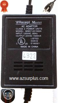 RECEIPT MASTER MW57-221500A AC ADAPTER 22VAC 1500mA USED 4PIN