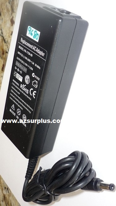 REPLACEMENT PA-1750-09 AC ADAPTER 19VDC 3.95A USED -(+) 2.5x5.5x