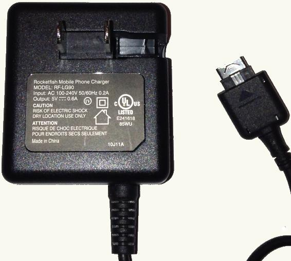 Rocketfish RF-LG90 Ac Adapter 5V DC 0.6A Used USB Connector Swi