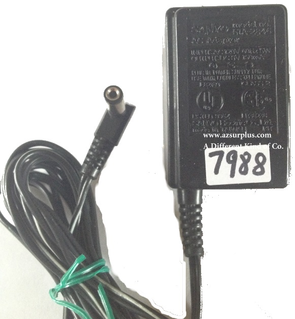 SANYO 51A-2846 AC ADAPTER USED +(-) 9VDC 150mA 90Degree round ba