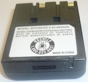 SANYO BT2499 3.6VDC 800mAh NICKLE-CADMIUM RECHARGEABLE BATTERY U