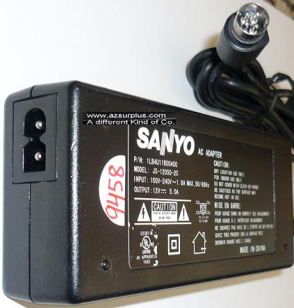 SANYO JS-12050-2C AC ADAPTER 12VDC 5A USED 4PIN DIN CLASS 2 POWE