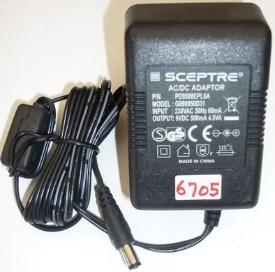SCEPTRE G090050D31 AC ADAPTER 9V DC 500mA USED 2.5x5.5mm EUROPE