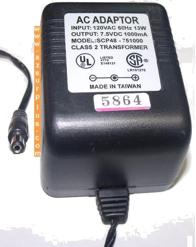 SCP48-751000 AC DC ADAPTER 7.5V 1000mA PLUG IN CLASS 2 POWER SUP