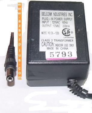 SELCOM DV-1220 AC ADAPTER 12V DC 200MA PLUG-IN TELE POWER SUPPLY