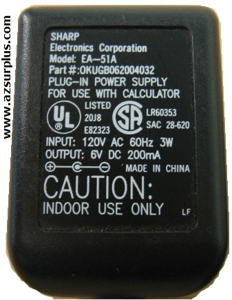 SHARP EA-51A AC ADAPTER 6VDC 200mA Used Straight Round Barrel P