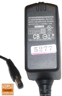 SOLYTECH AD1712C AC ADAPTER 12Vdc 1.25A 2x5.5mm Used 100-240vac