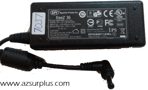 SPI SP036-RAC AC ADAPTER 12VDC 3A Used 1.8x4.8mm 90° -(+)- 100-2