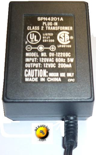 120VAC Wall Mount Plug-in Charger 60Hz 200mA 12VDC